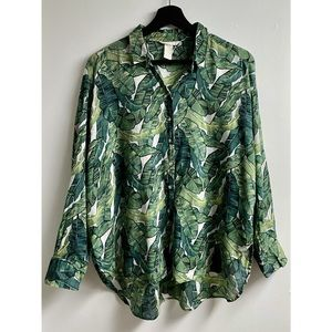 H&M Oversized Banana Leaf Print Button Up